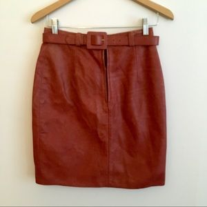 Vintage Burnt Orange Leather Skirt w Belt